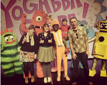 Isobel and Cat with Yo Gabba Gabba cast